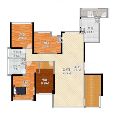 绿岛湖壹号3室2厅2卫1厨194.00㎡户型图