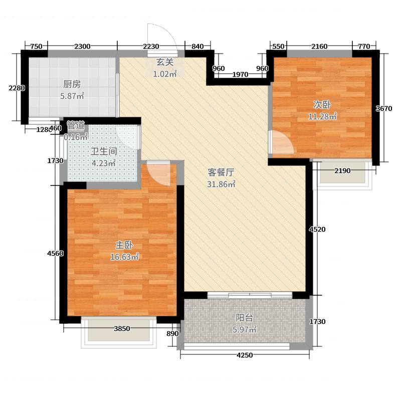 绿地世纪城95.00㎡五期185#标准层中间套户型2室2厅1卫