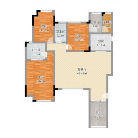 万科城市高尔夫花园3室2厅2卫1厨160.00㎡户型图