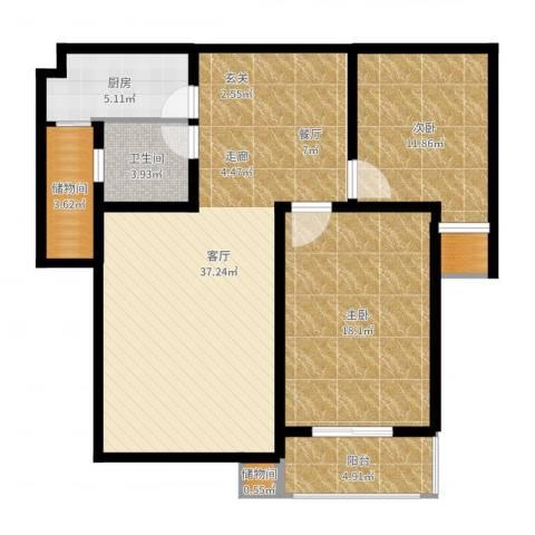 丽景华庭2室1厅1卫1厨108.00㎡户型图