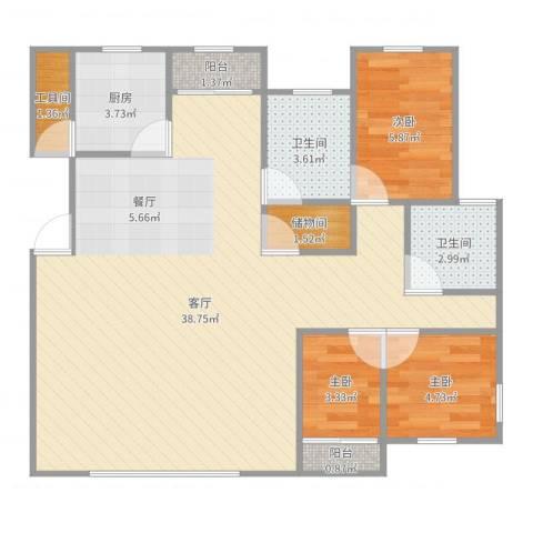 和润家园别墅3室1厅2卫1厨85.00㎡户型图