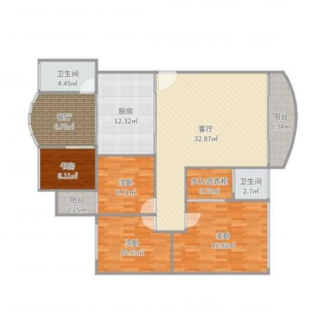 恒福湖景湾4室2厅2卫1厨143.00㎡户型图