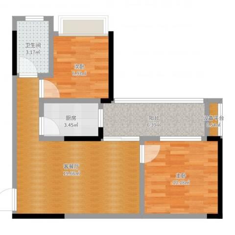 恒泰嘉园派2室2厅1卫1厨63.00㎡户型图