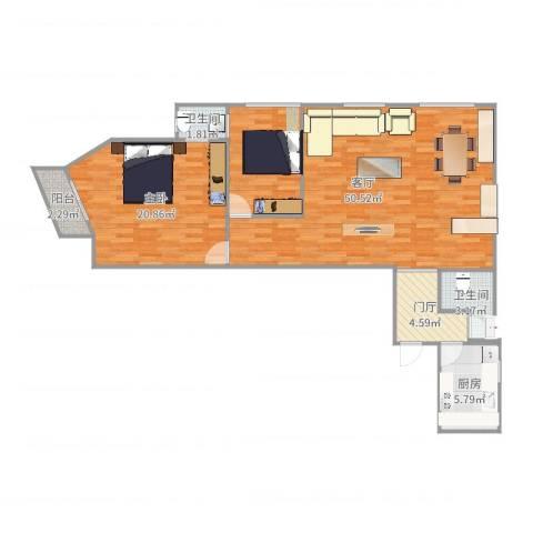 安慧北里逸园24号楼110两居1室1厅2卫1厨111.00㎡户型图