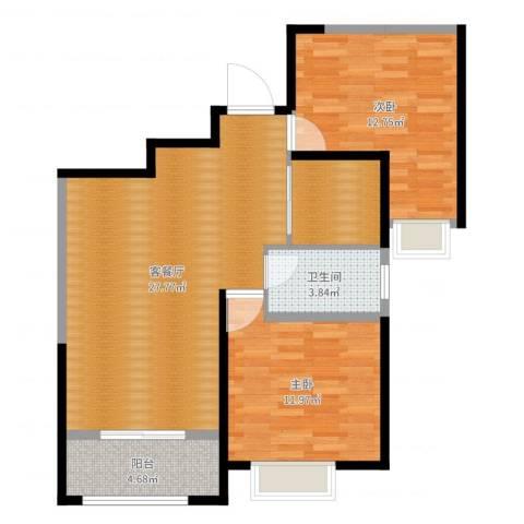 首开常青藤2室2厅1卫1厨81.00㎡户型图