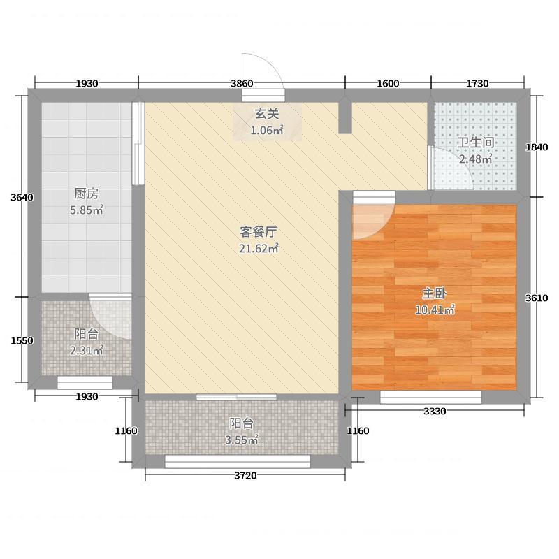 云岭青城・颐园66.73㎡B1户型1室1厅1卫1厨