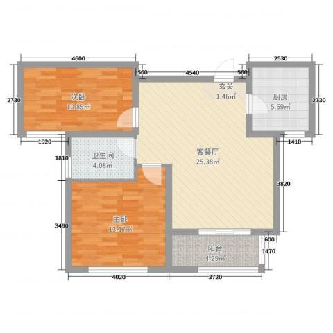 御水帝景城2室2厅1卫1厨79.00㎡户型图