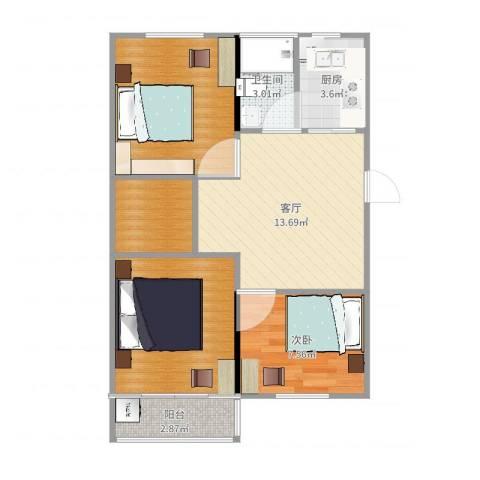 梅园四街坊1室1厅1卫1厨68.00㎡户型图