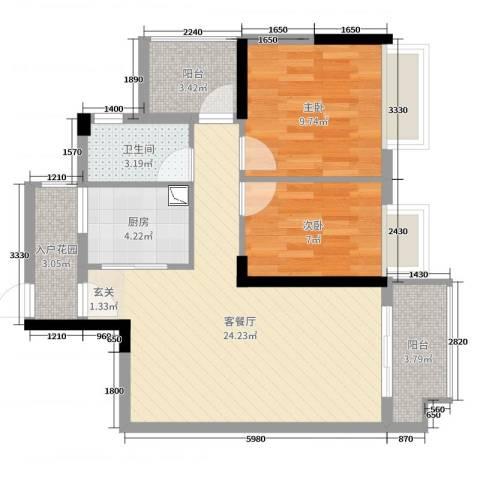 御龙湾2室2厅1卫1厨76.00㎡户型图