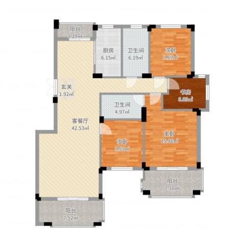 新源金碧秋浦4室2厅2卫1厨148.00㎡户型图