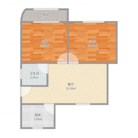 虹梅南路680弄小区2室1厅1卫1厨57.00㎡户型图