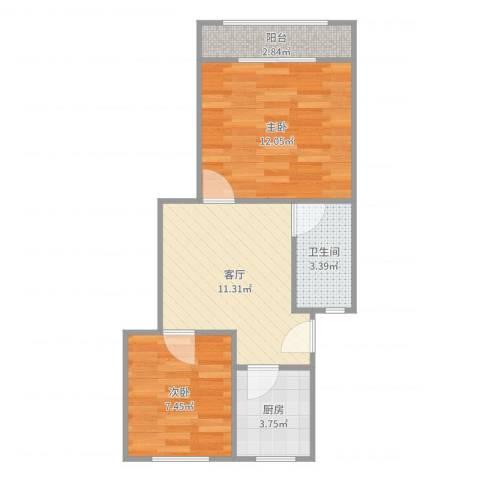 虹梅南路126弄小区2室1厅1卫1厨51.00㎡户型图