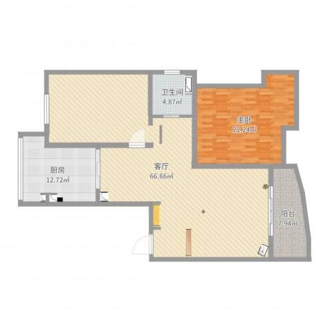 虹梅新苑一期1室1厅1卫1厨143.00㎡户型图
