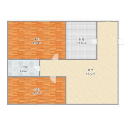 东亚・五环国际2室1厅1卫1厨188.00㎡户型图