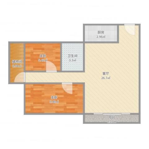 梅花豪庭2室1厅1卫1厨66.00㎡户型图