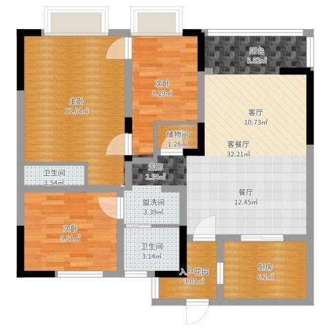 世茂君望墅3室2厅2卫1厨104.00㎡户型图