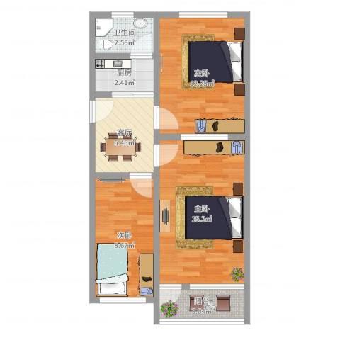 中山北路805弄小区3室1厅1卫1厨62.00㎡户型图