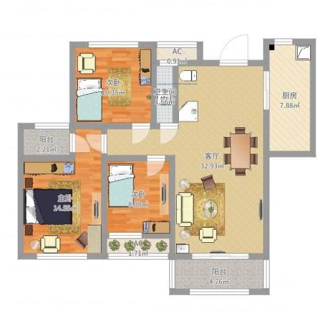 爱伦坡3室1厅1卫1厨85.03㎡户型图