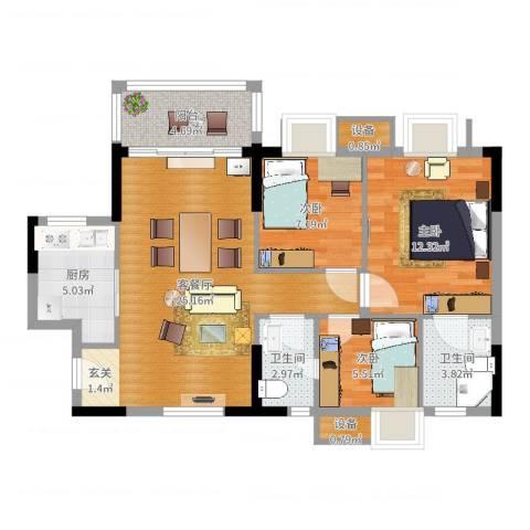 顺景蔷薇山庄4期3室2厅2卫1厨85.00㎡户型图