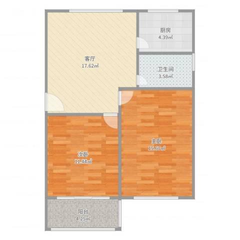 康花新村2室1厅1卫1厨72.00㎡户型图