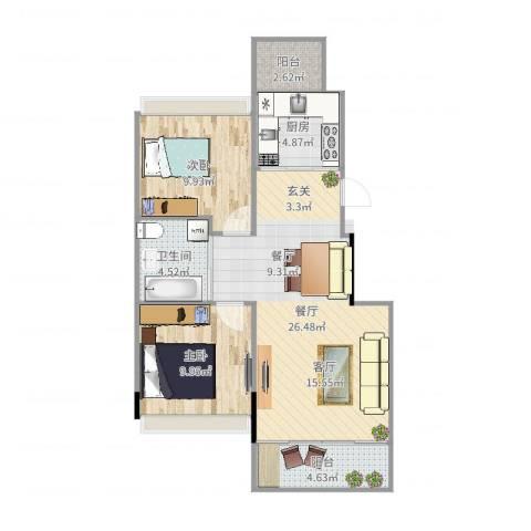 巴黎左岸2室1厅1卫1厨78.00㎡户型图