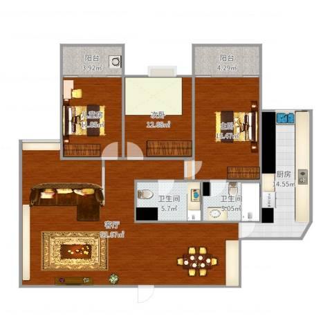 香榭丽都3室1厅2卫1厨156.00㎡户型图