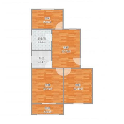 红明一村3室1厅1卫1厨56.18㎡户型图