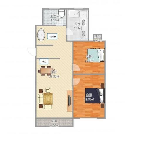 红旗三村2室1厅1卫1厨100.00㎡户型图