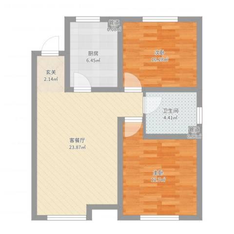 教师之家2室2厅1卫1厨72.00㎡户型图