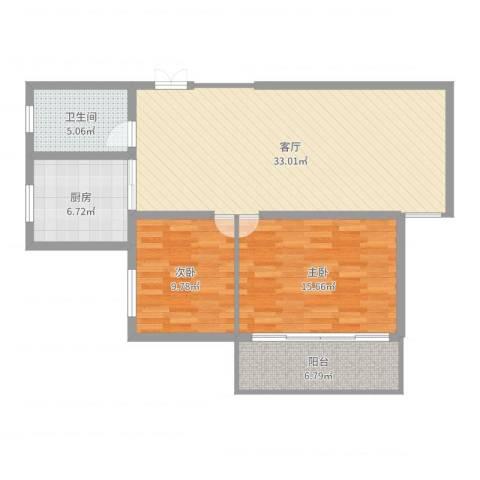 汤巷馨村2室1厅1卫1厨96.00㎡户型图