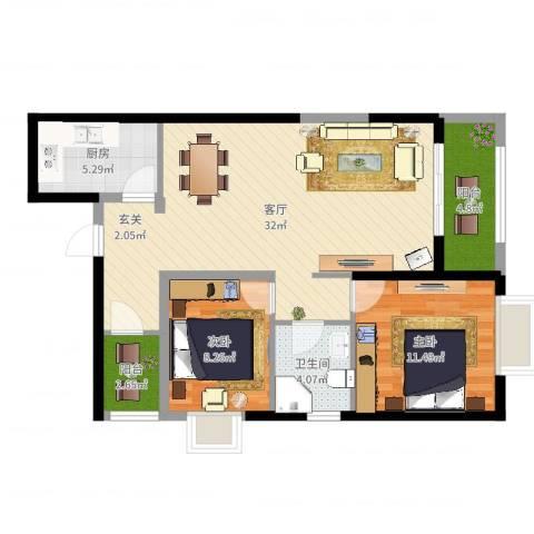 高盛金融中心2室1厅1卫1厨86.00㎡户型图