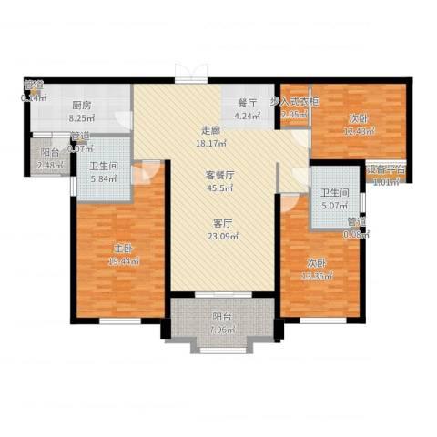 森禾阳光3室2厅2卫1厨155.00㎡户型图
