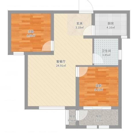 枫桦豪景2室2厅1卫1厨69.00㎡户型图