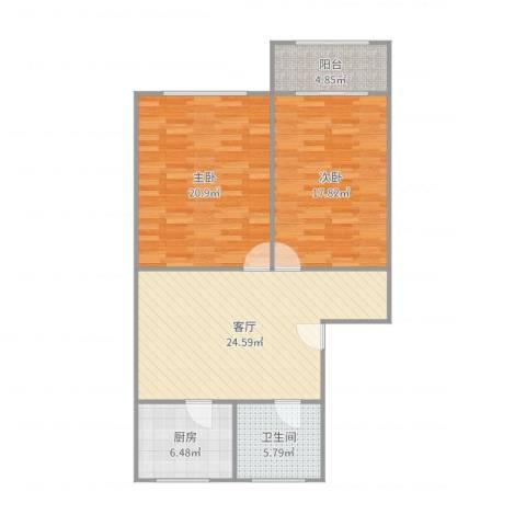 虹梅南路680弄小区2室1厅1卫1厨101.00㎡户型图