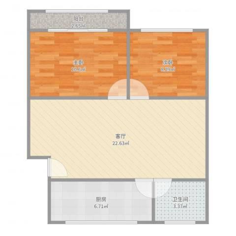 虹梅南路126弄小区2室1厅1卫1厨68.00㎡户型图