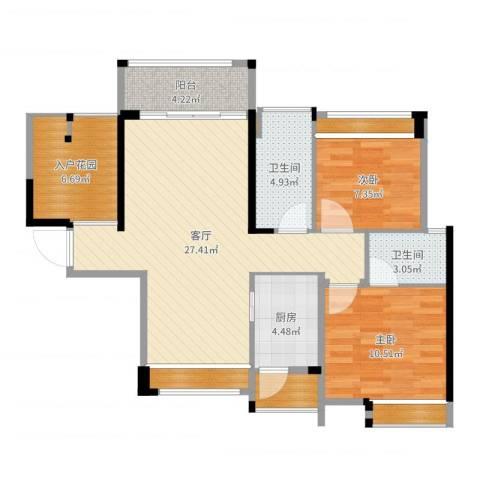 香洲奥园广场94平方3房2厅2室1厅2卫1厨93.00㎡户型图