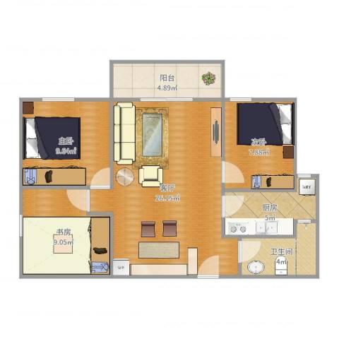 世纪城天鹅湖3室1厅1卫1厨83.00㎡户型图