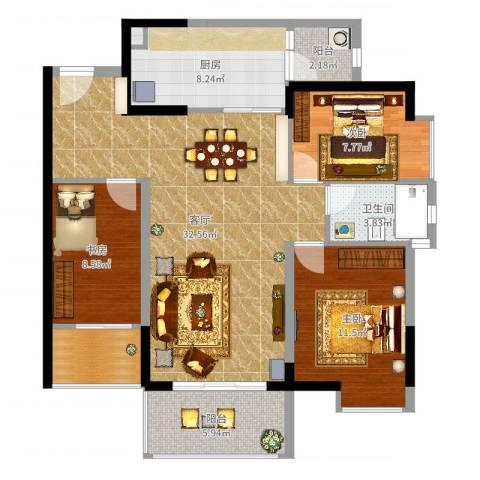 忠信春满园3室1厅1卫1厨105.00㎡户型图