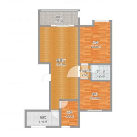 亚美明月居7号楼3单元5023室2厅1卫1厨92.00㎡户型图