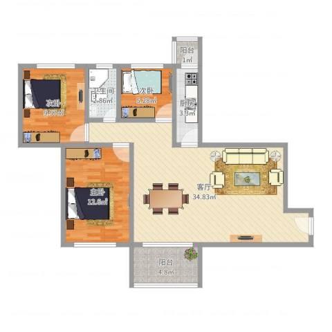 富力朗逸轩3室1厅1卫1厨93.00㎡户型图