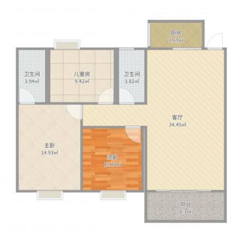 和富家园12A11063室1厅2卫1厨108.00㎡户型图