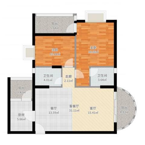 尚贤坊2室2厅2卫1厨106.00㎡户型图
