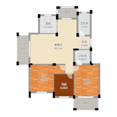 新源金碧秋浦3室2厅2卫1厨143.00㎡户型图