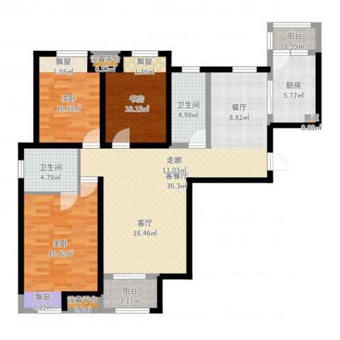 高科绿水东城3室2厅2卫1厨119.00㎡户型图