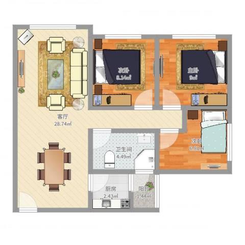 五华直街小区3室1厅1卫1厨76.00㎡户型图