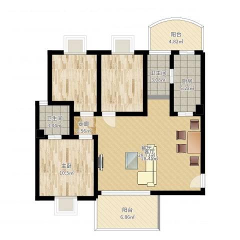 华景新城翠景园1室1厅2卫1厨98.00㎡户型图