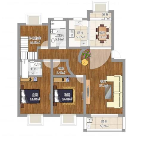松乐苑3室2厅1卫1厨162.00㎡户型图
