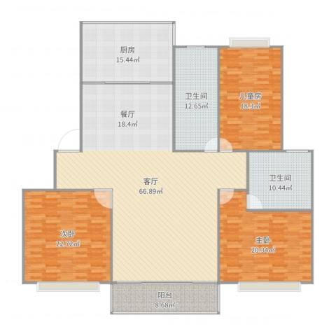 华高庭园3室1厅2卫1厨219.00㎡户型图