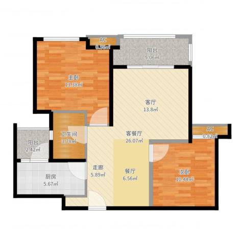 同润蓝美俊庭2室2厅1卫1厨88.00㎡户型图