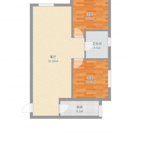 新建小区2室1厅1卫1厨59.25㎡户型图